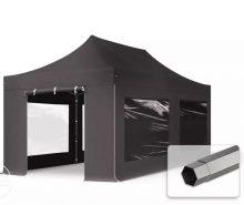 Professional összecsukható sátrak PREMIUM 3x6m-400g/m2 ponyvával-acélszerkezettel-sötétszürke