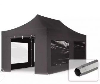 Professional összecsukható sátrak PREMIUM 350g/m2 ponyvával, acélszerkezettel, 4 oldalfallal, panoráma ablakkal - 3x6m sötétszürke