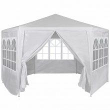 Hatszög alakú sátor fehér színben