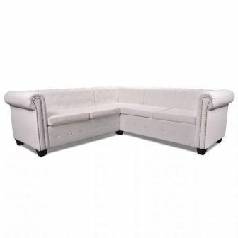 VID Fehér chesterfield ötszemélyes műbőr kanapé