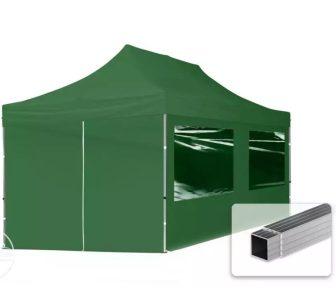 Professional összecsukható sátrak ECO 300 g/m2 ponyvával, alumínium szerkezettel, 4 oldalfallal - 3x6m zöld