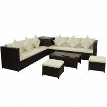 Lounge szett tároló ládával, 2 ülőkével barna