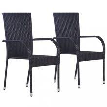 VID 2 db fekete rakásolható polyrattan kültéri szék