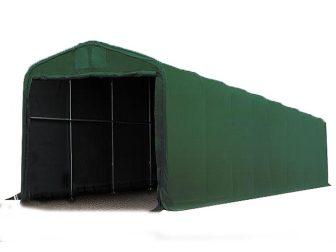 Ponyvagarázs/ sátorgarázs / tároló 4x24m-3,35m oldalmagasság, PVC 550g/nm kapuméret: 3,5x3,5m sötétzöld színben