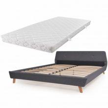 VID Kárpitozott ágy ágyráccsal, matraccal, 180x200 cm, sötétszürke színben