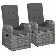 VID  2 db szürke  polyrattan szék fotel étkezőszék 57 x 73 x 105 cm