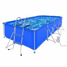 Fémvázas medence vízforgatóval és létrával [394 x 207 x 80 cm] -téglalap