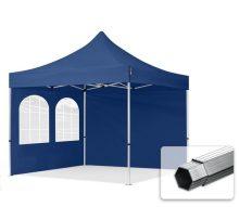 Professional összecsukható sátrak PROFESSIONAL 400g/m2 ponyvával, alumínium szerkezettel, 2 oldalfallal, hagyományos ablakkal -  3x3m sötétkék