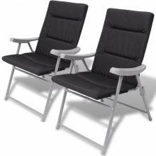 2 db összecsukható kerti szék párnával fekete színben