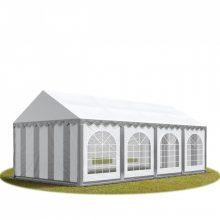 TP Professional deluxe 4x8m nehéz acélkonstrukciós rendezvénysátor erősített tetőszerkezettel szürke-fehér tűzálló ponyvával