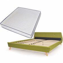 VID Kárpitozott ágy ágyráccsal, memóriahabos matraccal, 180x200 cm, zöld színben