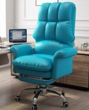 főnöki design forgószék/fotel extra puha tapintású huzattal - kék színben - B ÁRU
