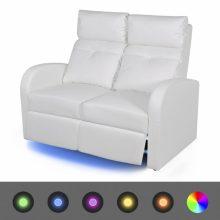 """VID Kétszemélyes kanapé LED fénnyel, dönthető támlával  """"V1"""" fehér"""