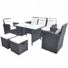 VID 7 személyes 18 részes polyrattan étkezőgarnitúra / ülőgarnitúra fekete színben