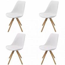 VID 4 db bükkfa/műbőr szék fehér színben