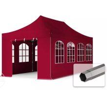 Professional összecsukható sátrak PREMIUM 350g/m2 ponyvával, acélszerkezettel, 4 oldalfallal, hagyományos ablakkal - 3x6m bordó