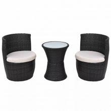 2 személyes 5 részes kültéri polyrattan bútorszett fekete színben