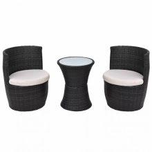 VID 2 személyes 5 részes kültéri polyrattan bútorszett fekete színben