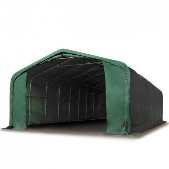 Ponyvagarázs/ sátorgarázs / tároló 6x6m-2,7m oldalmagasság, tűzálló PVC 720g/nm kapuméret: 4,1x2,9m zöld színben