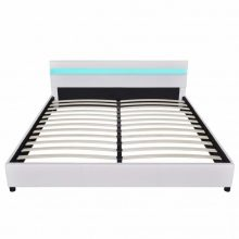 """PU bőr ágy 180x200 cm """"V9"""" LED világítással, fehér színben"""
