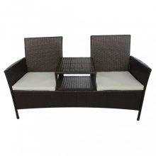 VID  barna kétszemélyes polyrattan kerti kanapé italtartó asztallal