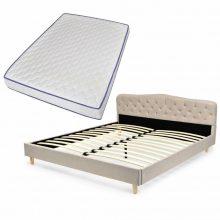 VID Kárpitozott ágy ágyráccsal, memóriahabos matraccal, 180x200 cm, bézs színben