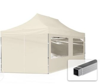 Professional összecsukható sátrak ECO 300 g/m2 ponyvával, alumínium szerkezettel,  4 oldalfallal - 3x6m bézs