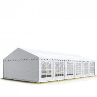 TP Professional deluxe 8x12m nehéz acélkonstrukciós rendezvénysátor erősített tetőszerkezettel tűzálló ponyvával