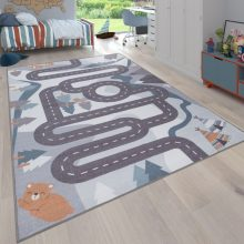 Gyerekszoba szőnyeg - szürke színekben - erdei autópálya mintával - több választható méret