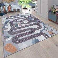 Gyerekszoba szőnyeg - szürke színekben - erdei autópálya mintával - több választható méretben