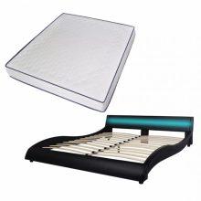 """PU bőr ágy 180x200 cm """"V20"""" memóriahabos matraccal, LED világítással, fekete színben"""