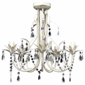 VID Mennyezeti kristály függő 5 izzós  lámpa Antik fehér