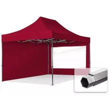Professional összecsukható sátrak PROFESSIONAL 400g/m2 ponyvával, alumínium szerkezettel, 2 oldalfallal, panoráma ablakkal - 3x4,5m bordó