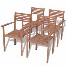VID 4 db rakásolható kültéri tíkfa szék