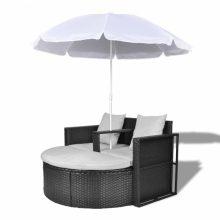 Relax szett két személy részére napernyővel fekete színben