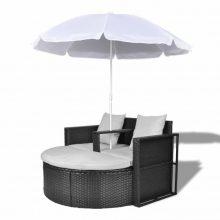 VID Relax szett két személy részére napernyővel fekete színben