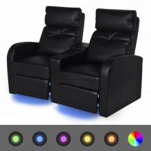 """VID Kétszemélyes kanapé LED fénnyel, dönthető támlával  """"V1"""" fekete"""