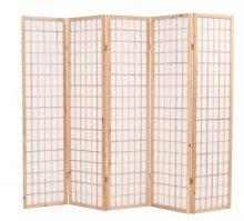 VID 5 paneles, természetes, japán stílusú paraván 200 x 170 cm