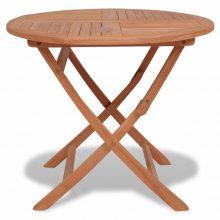 Kör alakú kültéri tömör tikfa étkezőasztal [85 x 76 cm]