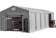 Vario raktársátor 8x16m - 3m oldalmagassággal, tetőablakkal-bejárat típusa: felhúzható
