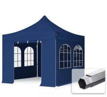 Professional összecsukható sátrak PROFESSIONAL 400g/m2 ponyvával, alumínium szerkezettel, 4 oldalfallal, hagyományos ablakkal -  3x3m sötétkék