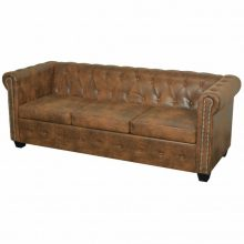 Barna chesterfield háromszemélyes műbőr kanapé