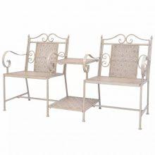 2 db-os kerti szék szett fehér/bézs