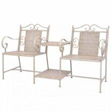 VID 2 db-os kerti szék szett fehér/bézs