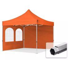 Professional összecsukható sátrak PROFESSIONAL 400g/m2 ponyvával, alumínium szerkezettel, 2 oldalfallal, hagyományos ablakkal -  3x3m narancssárga