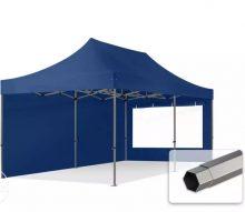 Professional összecsukható sátrak PREMIUM 350g/m2 ponyvával, acélszerkezettel, 2 oldalfallal, panoráma ablakkal - 3x6m sötétkék
