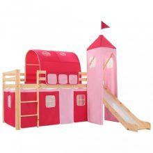 VID fenyőfa gyermek ágykeret csúszdával/létrával rózsaszín 97x208 cm