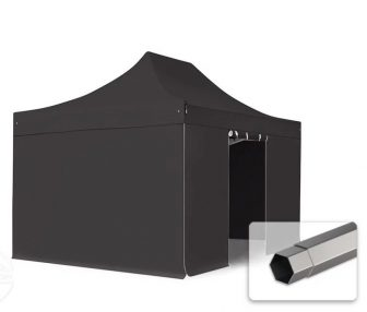 Professional összecsukható sátrak PREMIUM 350g/m2 ponyvával, acélszerkezettel, 4 oldalfallal, ablak nélkül - 3x4,5m fekete