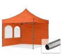 Professional összecsukható sátrak PREMIUM 350g/m2 ponyvával, acélszerkezettel, 2 oldalfallal, hagyományos ablakkal - 3x3m narancssárga