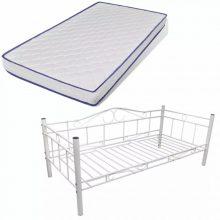 "Fém ágy 90x200 cm ""V4"", memóriahabos matraccal, fehér színben"